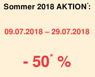 Sommer 2018 Aktion: 50% Rabatt bei 3-Wochenbuchung vom 09.07.2018-29.07.2018